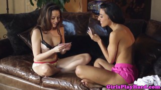Petite young lesbian babe licking pussy